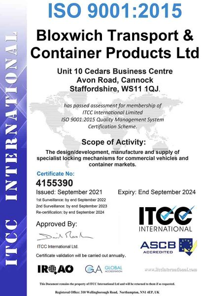 ISO9001 certificate for bloxwich group